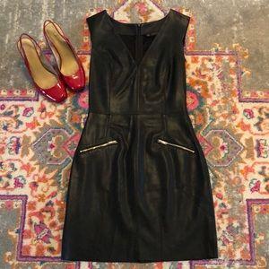 Zara Faux Leather Sheath Dress  V neck/ xs